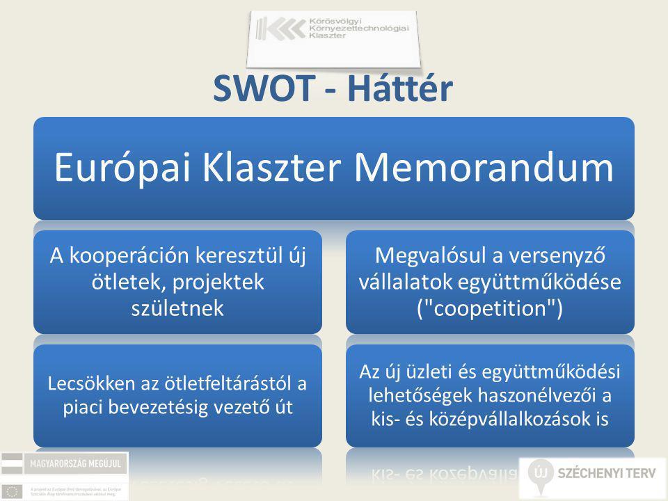 Európai Klaszter Memorandum A kooperáción keresztül új ötletek, projektek születnek Lecsökken az ötletfeltárástól a piaci bevezetésig vezető út Megvalósul a versenyző vállalatok együttműködése ( coopetition ) Az új üzleti és együttműködési lehetőségek haszonélvezői a kis- és középvállalkozások is SWOT - Háttér