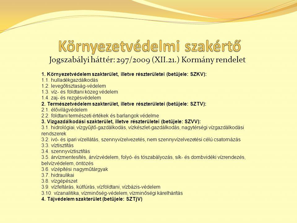 Jogszabályi háttér: 297/2009 (XII.21.) Kormány rendelet 1.