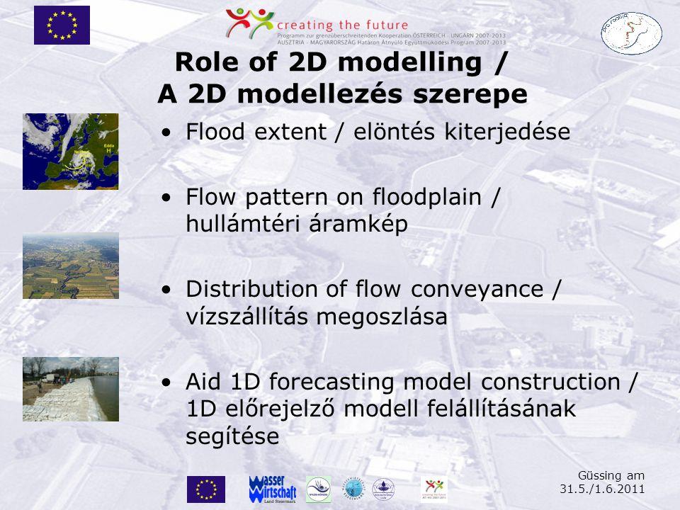 Role of 2D modelling / A 2D modellezés szerepe Flood extent / elöntés kiterjedése Flow pattern on floodplain / hullámtéri áramkép Distribution of flow conveyance / vízszállítás megoszlása Aid 1D forecasting model construction / 1D előrejelző modell felállításának segítése Güssing am 31.5./1.6.2011