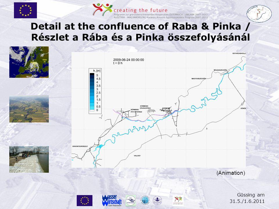 Güssing am 31.5./1.6.2011 Detail at the confluence of Raba & Pinka / Részlet a Rába és a Pinka összefolyásánál (Animation)