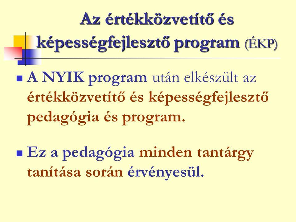 Az értékközvetítő és képességfejlesztő program (ÉKP) A NYIK program után elkészült az értékközvetítő és képességfejlesztő pedagógia és program. Ez a p
