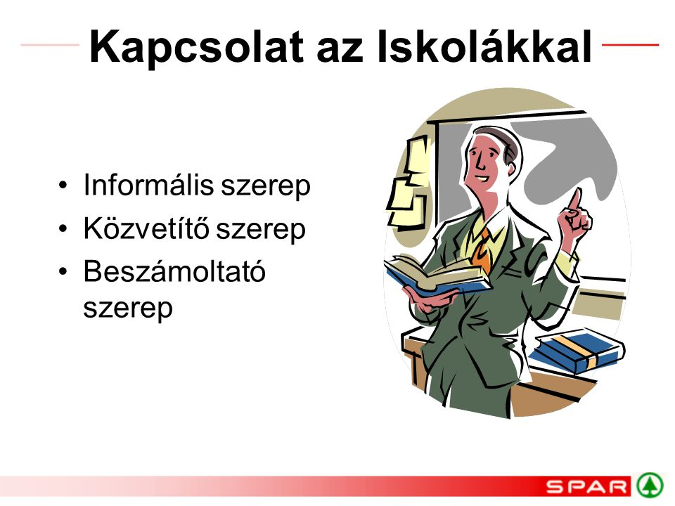Kapcsolat az Iskolákkal Informális szerep Közvetítő szerep Beszámoltató szerep