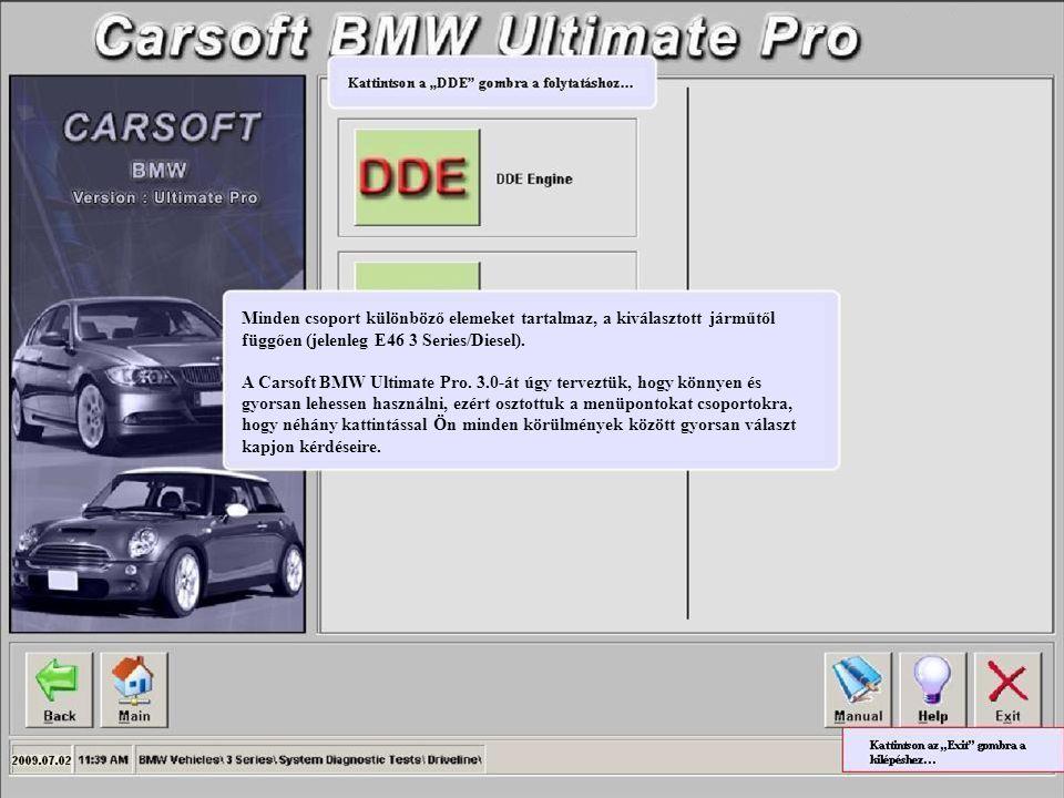 Minden csoport különböző elemeket tartalmaz, a kiválasztott járműtől függően (jelenleg E46 3 Series/Diesel). A Carsoft BMW Ultimate Pro. 3.0-át úgy te