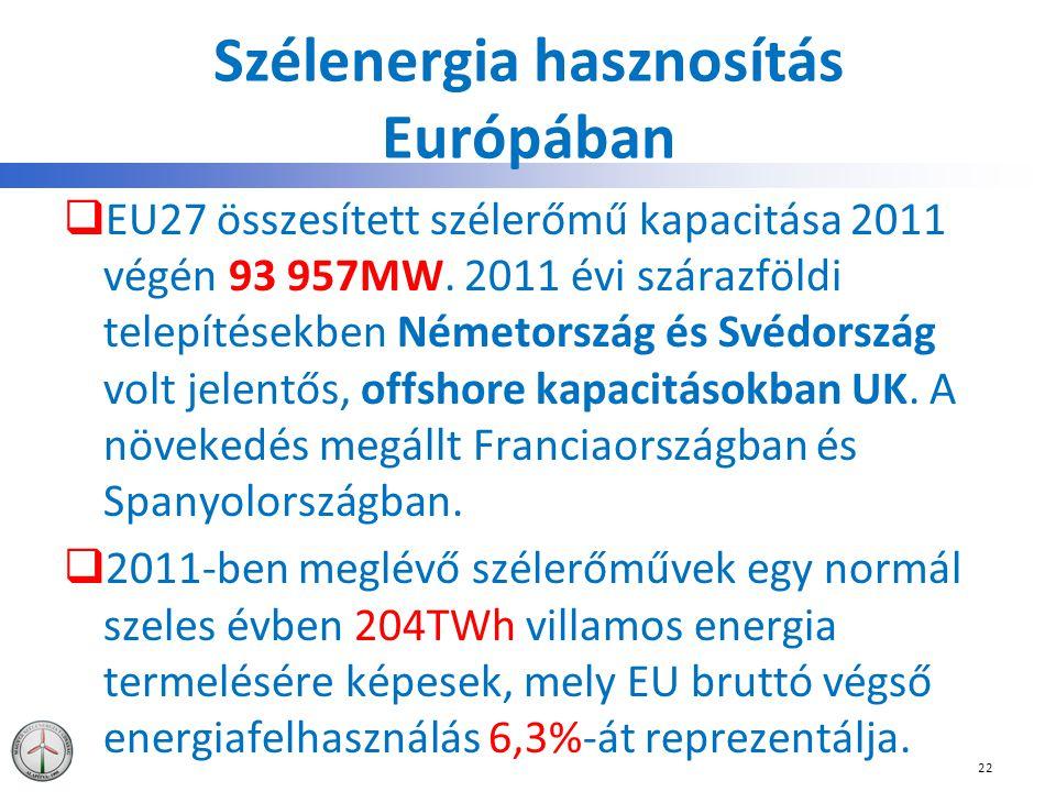 Szélenergia hasznosítás Európában  EU27 összesített szélerőmű kapacitása 2011 végén 93 957MW. 2011 évi szárazföldi telepítésekben Németország és Svéd