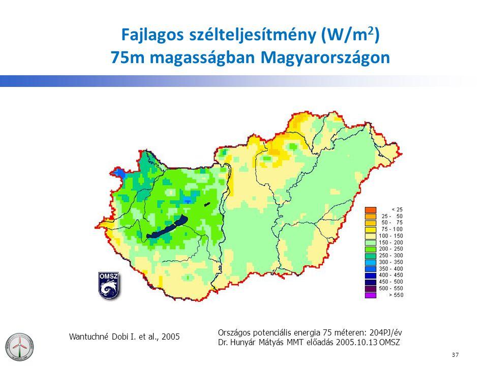 Fajlagos szélteljesítmény (W/m 2 ) 75m magasságban Magyarországon Wantuchné Dobi I. et al., 2005 Országos potenciális energia 75 méteren: 204PJ/év Dr.