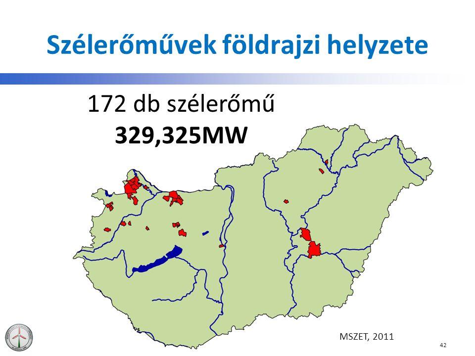 Szélerőművek földrajzi helyzete 42 172 db szélerőmű 329,325MW MSZET, 2011