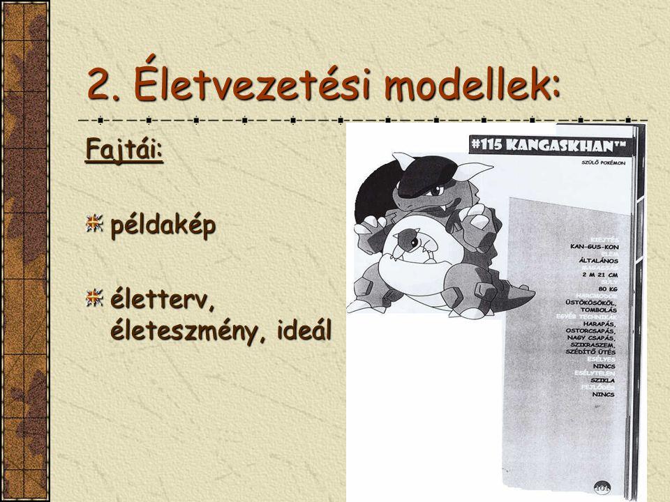 2. Életvezetési modellek: Fajtái:példakép életterv, életeszmény, ideál