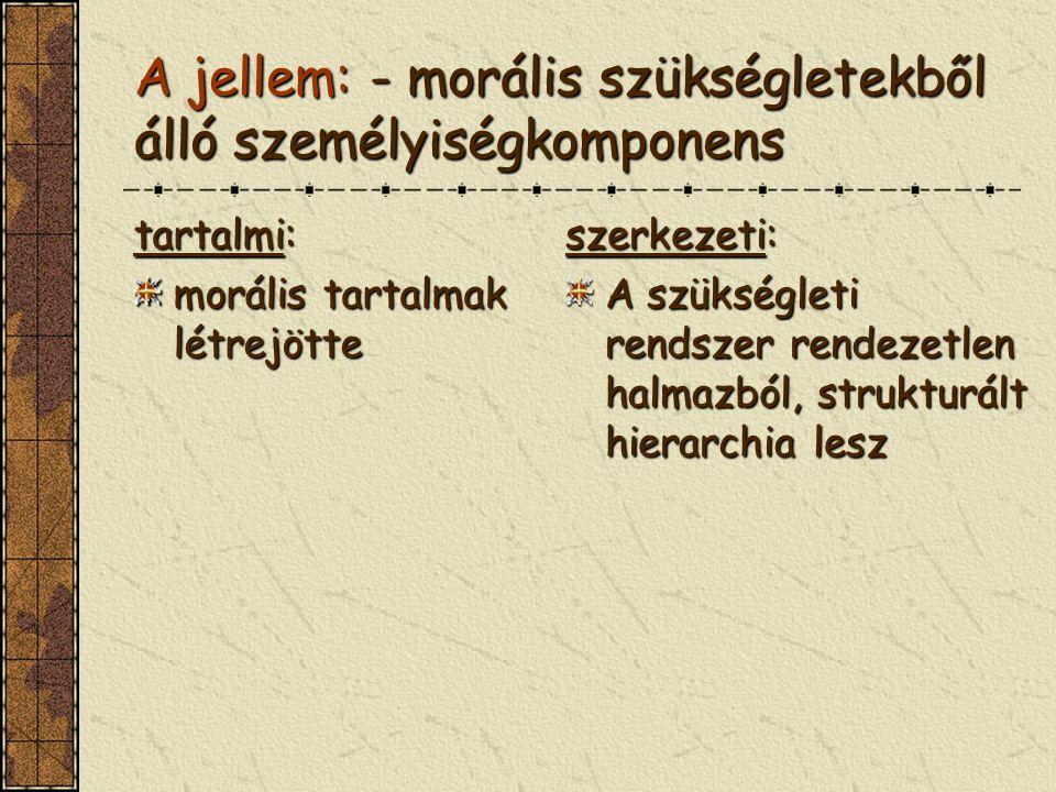 A jellem: - morális szükségletekből álló személyiségkomponens tartalmi: morális tartalmak létrejötte szerkezeti: A szükségleti rendszer rendezetlen ha