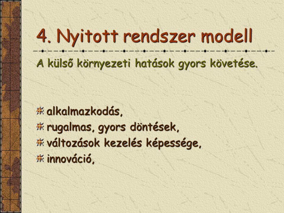 4. Nyitott rendszer modell A külső környezeti hatások gyors követése. alkalmazkodás, rugalmas, gyors döntések, változások kezelés képessége, innováció