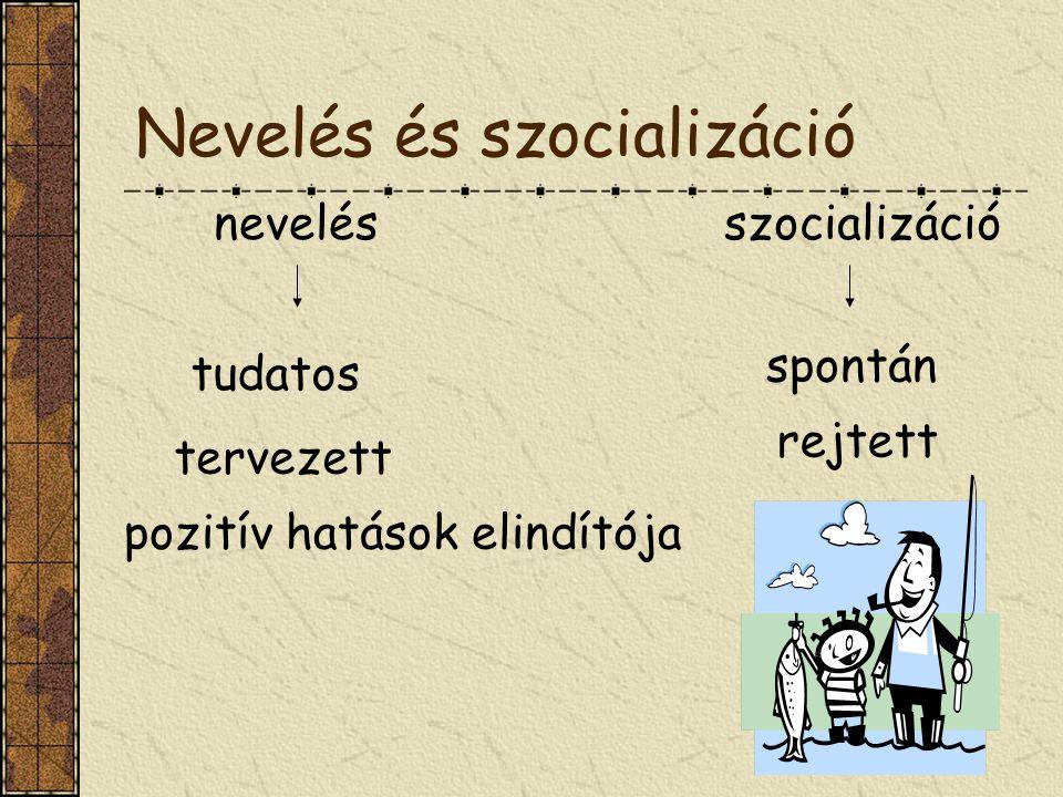 Nevelés és szocializáció nevelésszocializáció tudatos tervezett pozitív hatások elindítója spontán rejtett