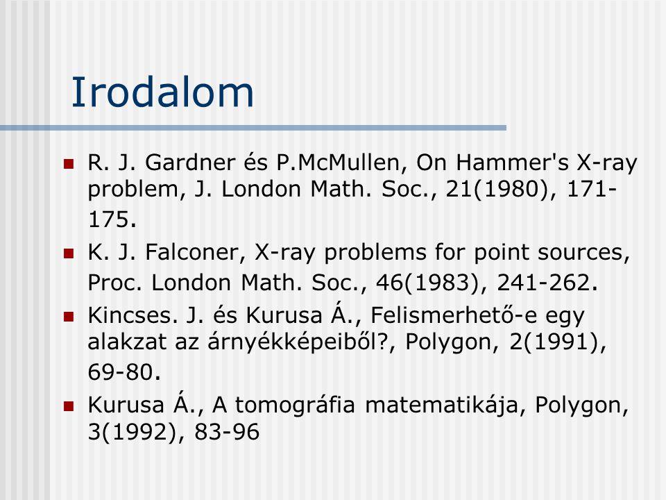 Irodalom R. J. Gardner és P.McMullen, On Hammer's X-ray problem, J. London Math. Soc., 21(1980), 171- 175. K. J. Falconer, X-ray problems for point so