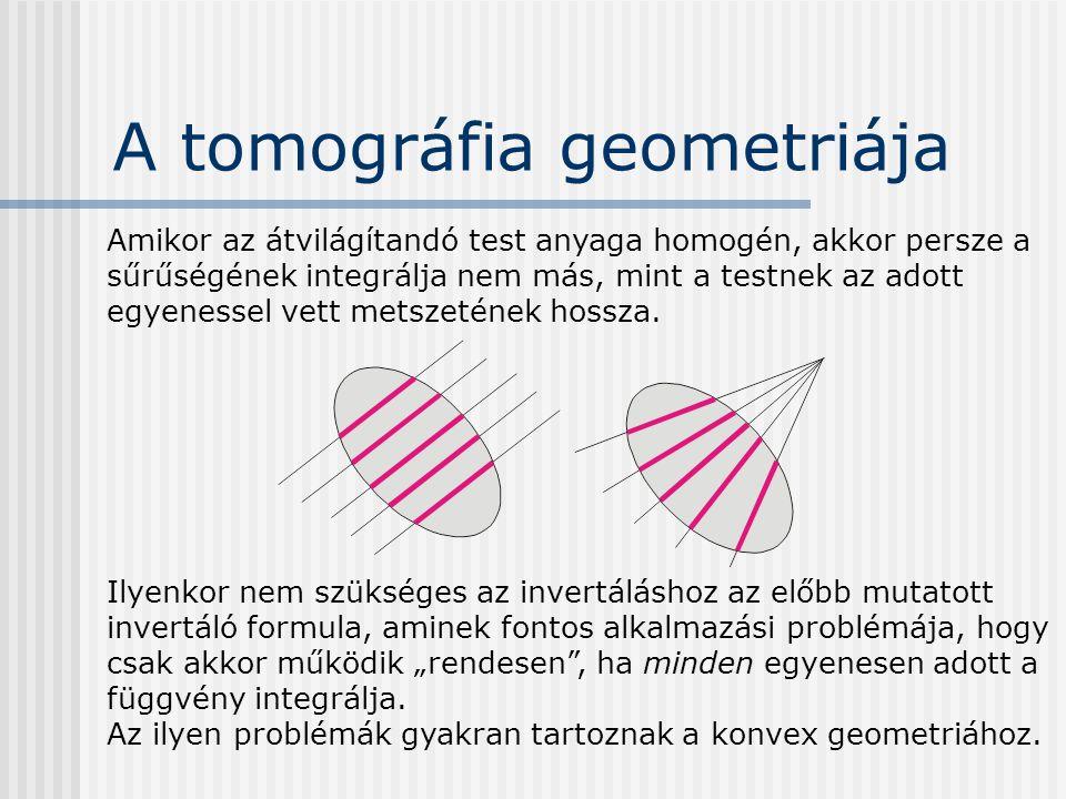 A tomográfia geometriája Amikor az átvilágítandó test anyaga homogén, akkor persze a sűrűségének integrálja nem más, mint a testnek az adott egyenesse