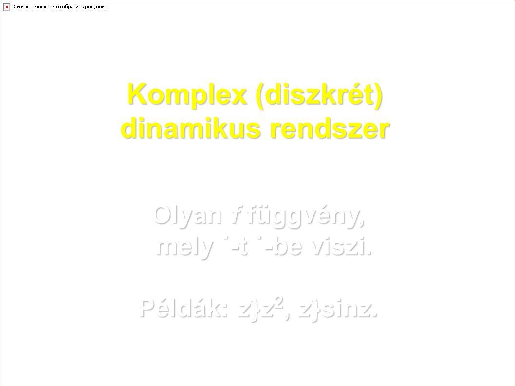 Komplex (diszkrét) dinamikus rendszer Olyan f függvény, mely ˙-t ˙-be viszi. Példák: z}z 2, z}sinz.