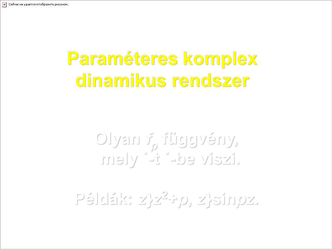 Paraméteres komplex dinamikus rendszer Olyan f p függvény, mely ˙-t ˙-be viszi. Példák: z}z 2 +p, z}sinpz.