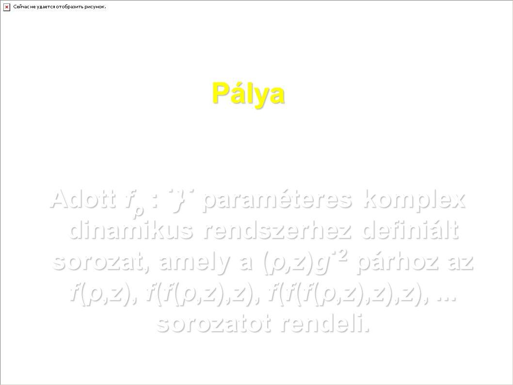 Pálya Adott f p : ˙}˙ paraméteres komplex dinamikus rendszerhez definiált sorozat, amely a (p,z)g˙ 2 párhoz az f(p,z), f(f(p,z),z), f(f(f(p,z),z),z),.
