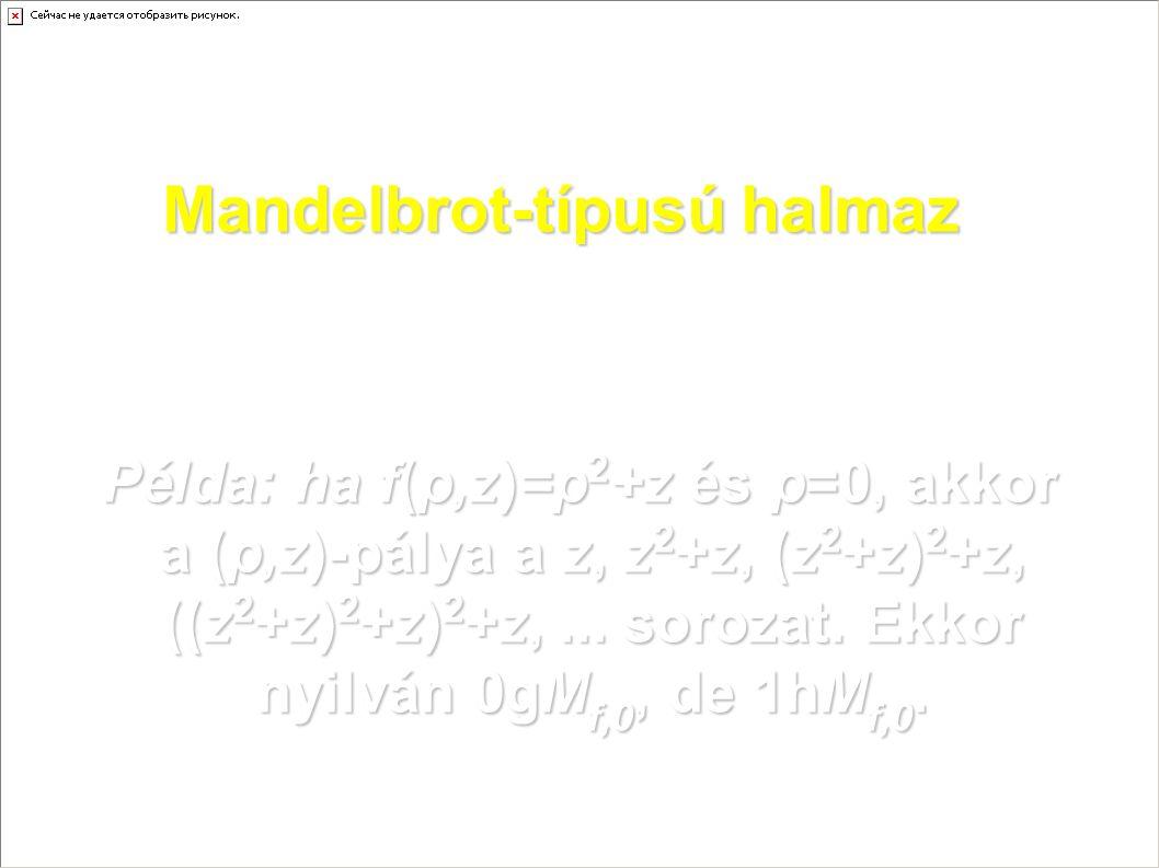 Mandelbrot-típusú halmaz Példa: ha f(p,z)=p 2 +z és p=0, akkor a (p,z)-pálya a z, z 2 +z, (z 2 +z) 2 +z, ((z 2 +z) 2 +z) 2 +z,... sorozat. Ekkor nyilv