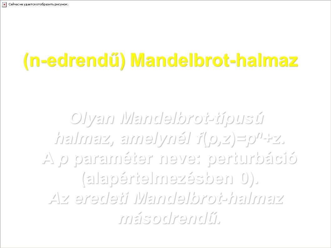 (n-edrendű) Mandelbrot-halmaz Olyan Mandelbrot-típusú halmaz, amelynél f(p,z)=p n +z. A p paraméter neve: perturbáció (alapértelmezésben 0). Az eredet