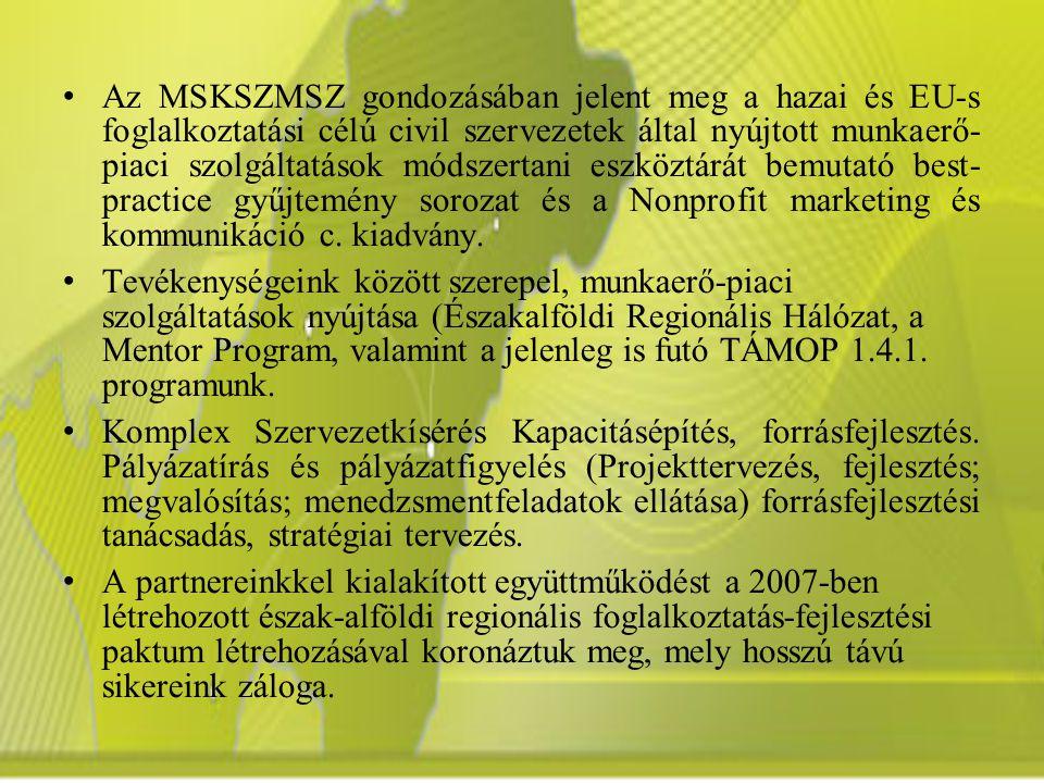 Az MSKSZMSZ gondozásában jelent meg a hazai és EU-s foglalkoztatási célú civil szervezetek által nyújtott munkaerő- piaci szolgáltatások módszertani eszköztárát bemutató best- practice gyűjtemény sorozat és a Nonprofit marketing és kommunikáció c.