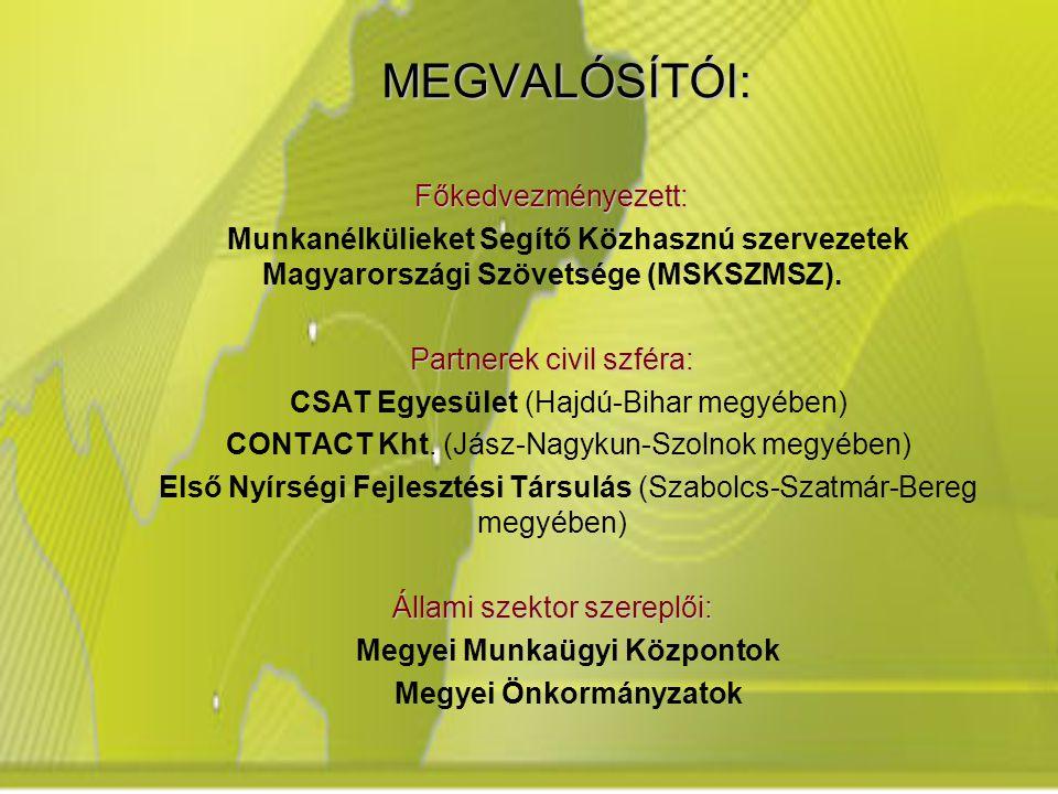 MEGVALÓSÍTÓI: Főkedvezményezett: Munkanélkülieket Segítő Közhasznú szervezetek Magyarországi Szövetsége (MSKSZMSZ).