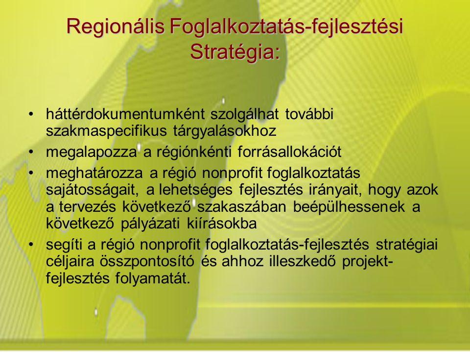 Regionális Foglalkoztatás-fejlesztési Stratégia: háttérdokumentumként szolgálhat további szakmaspecifikus tárgyalásokhoz megalapozza a régiónkénti forrásallokációt meghatározza a régió nonprofit foglalkoztatás sajátosságait, a lehetséges fejlesztés irányait, hogy azok a tervezés következő szakaszában beépülhessenek a következő pályázati kiírásokba segíti a régió nonprofit foglalkoztatás-fejlesztés stratégiai céljaira összpontosító és ahhoz illeszkedő projekt- fejlesztés folyamatát.