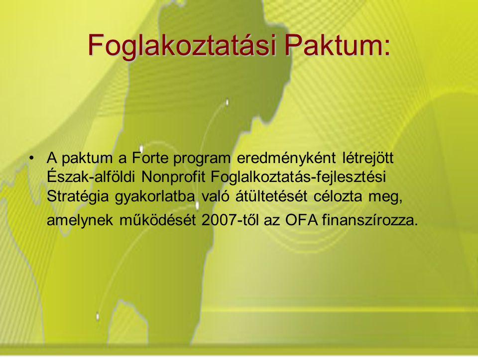 Foglakoztatási Paktum: A paktum a Forte program eredményként létrejött Észak-alföldi Nonprofit Foglalkoztatás-fejlesztési Stratégia gyakorlatba való átültetését célozta meg, amelynek működését 2007-től az OFA finanszírozza.