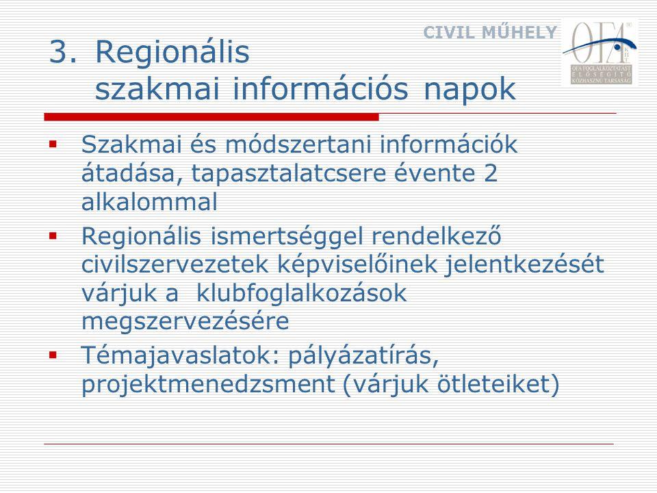 3.Regionális szakmai információs napok  Szakmai és módszertani információk átadása, tapasztalatcsere évente 2 alkalommal  Regionális ismertséggel rendelkező civilszervezetek képviselőinek jelentkezését várjuk a klubfoglalkozások megszervezésére  Témajavaslatok: pályázatírás, projektmenedzsment (várjuk ötleteiket) CIVIL MŰHELY