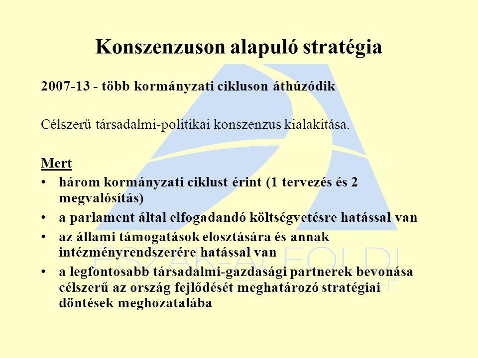 Konszenzuson alapuló stratégia 2007-13 - több kormányzati cikluson áthúzódik Célszerű társadalmi-politikai konszenzus kialakítása.