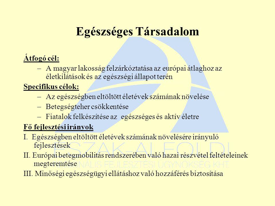 Egészséges Társadalom Átfogó cél: –A magyar lakosság felzárkóztatása az európai átlaghoz az életkilátások és az egészségi állapot terén Specifikus célok: –Az egészségben eltöltött életévek számának növelése –Betegségteher csökkentése –Fiatalok felkészítése az egészséges és aktív életre Fő fejlesztési irányok I.