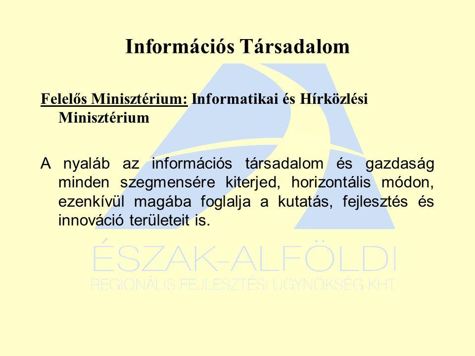 Információs Társadalom Felelős Minisztérium: Informatikai és Hírközlési Minisztérium A nyaláb az információs társadalom és gazdaság minden szegmensére kiterjed, horizontális módon, ezenkívül magába foglalja a kutatás, fejlesztés és innováció területeit is.
