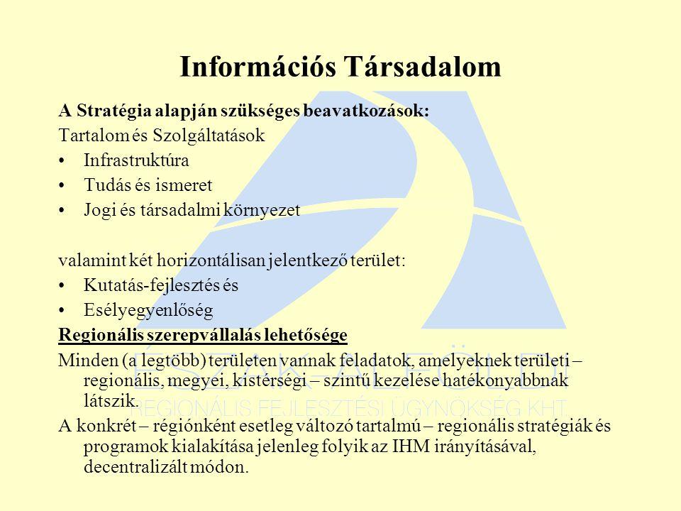 Információs Társadalom A Stratégia alapján szükséges beavatkozások: Tartalom és Szolgáltatások Infrastruktúra Tudás és ismeret Jogi és társadalmi környezet valamint két horizontálisan jelentkező terület: Kutatás-fejlesztés és Esélyegyenlőség Regionális szerepvállalás lehetősége Minden (a legtöbb) területen vannak feladatok, amelyeknek területi – regionális, megyei, kistérségi – szintű kezelése hatékonyabbnak látszik.