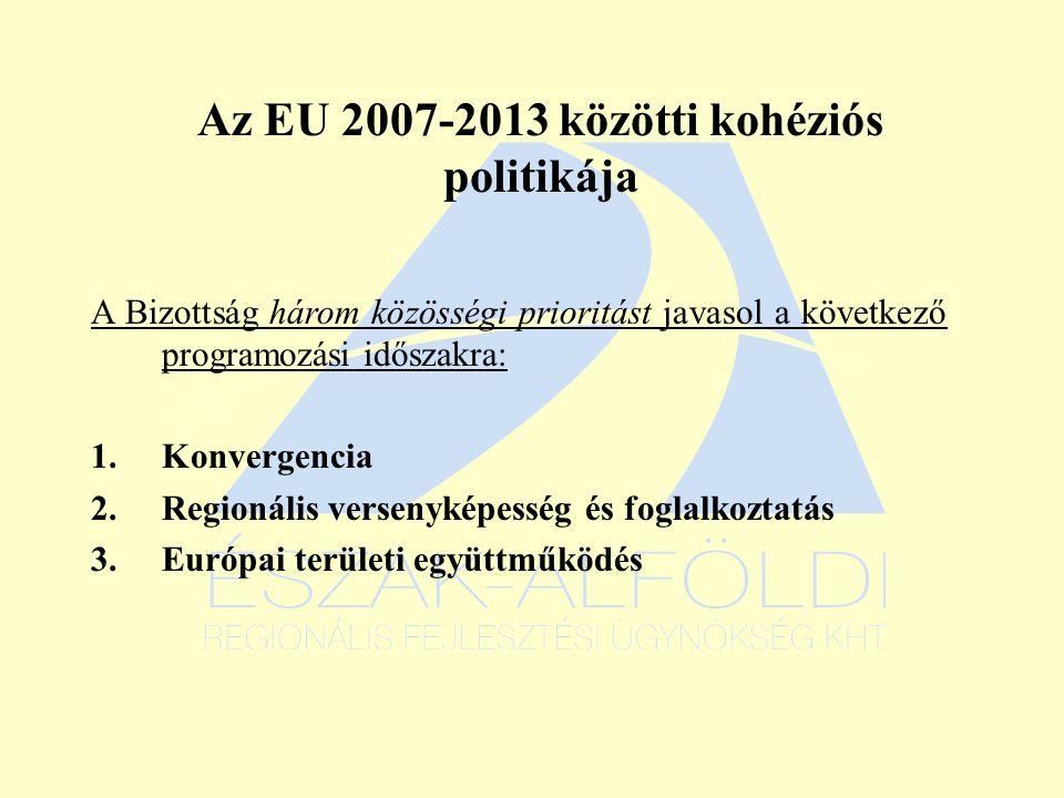Az EU 2007-2013 közötti kohéziós politikája A Bizottság három közösségi prioritást javasol a következő programozási időszakra: 1.Konvergencia 2.Regionális versenyképesség és foglalkoztatás 3.Európai területi együttműködés