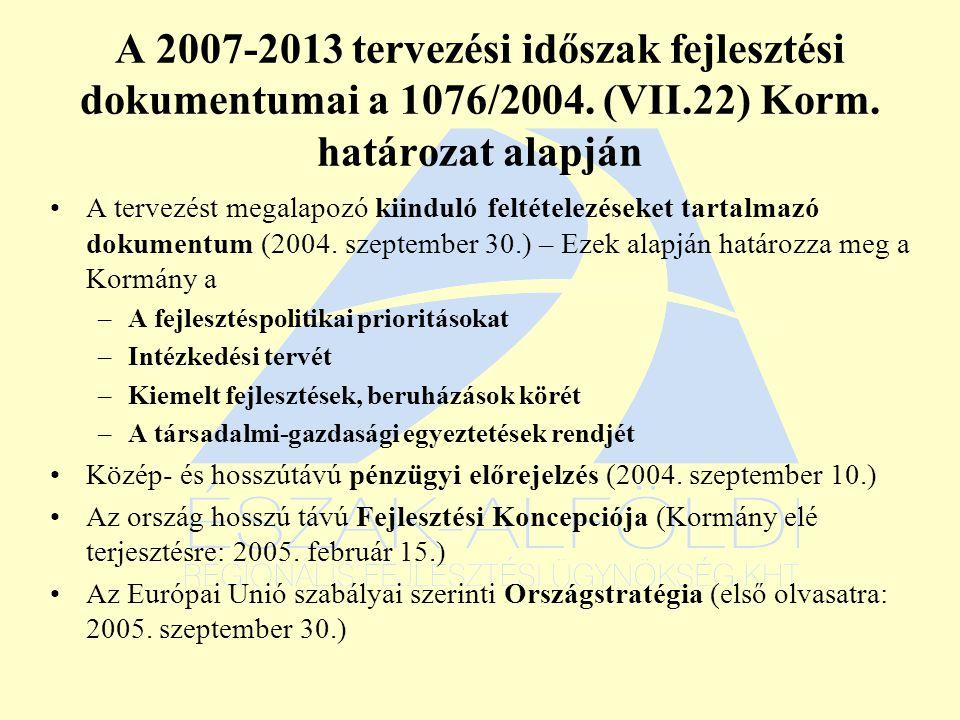 A 2007-2013 tervezési időszak fejlesztési dokumentumai a 1076/2004.