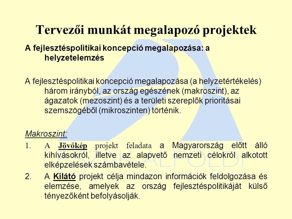 Tervezői munkát megalapozó projektek A fejlesztéspolitikai koncepció megalapozása: a helyzetelemzés A fejlesztéspolitikai koncepció megalapozása (a helyzetértékelés) három irányból, az ország egészének (makroszint), az ágazatok (mezoszint) és a területi szereplők prioritásai szemszögéből (mikroszinten) történik.