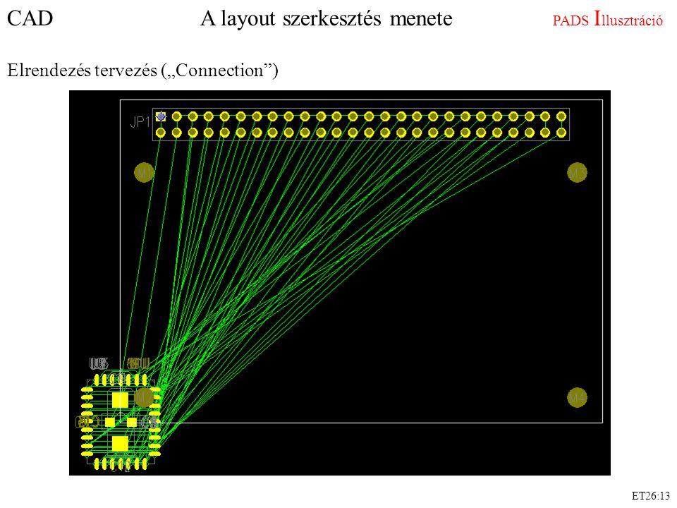 """CAD A layout szerkesztés menete PADS I llusztráció Elrendezés tervezés (""""Connection"""") ET26:13"""