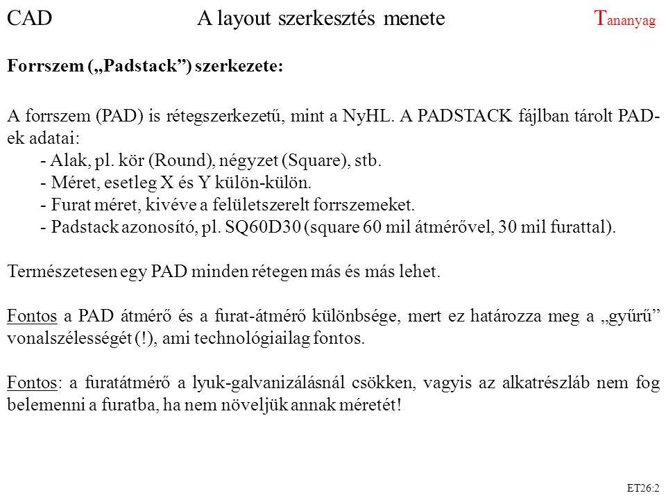 """CAD A layout szerkesztés menete T ananyag Forrszem (""""Padstack"""") szerkezete: A forrszem (PAD) is rétegszerkezetű, mint a NyHL. A PADSTACK fájlban tárol"""