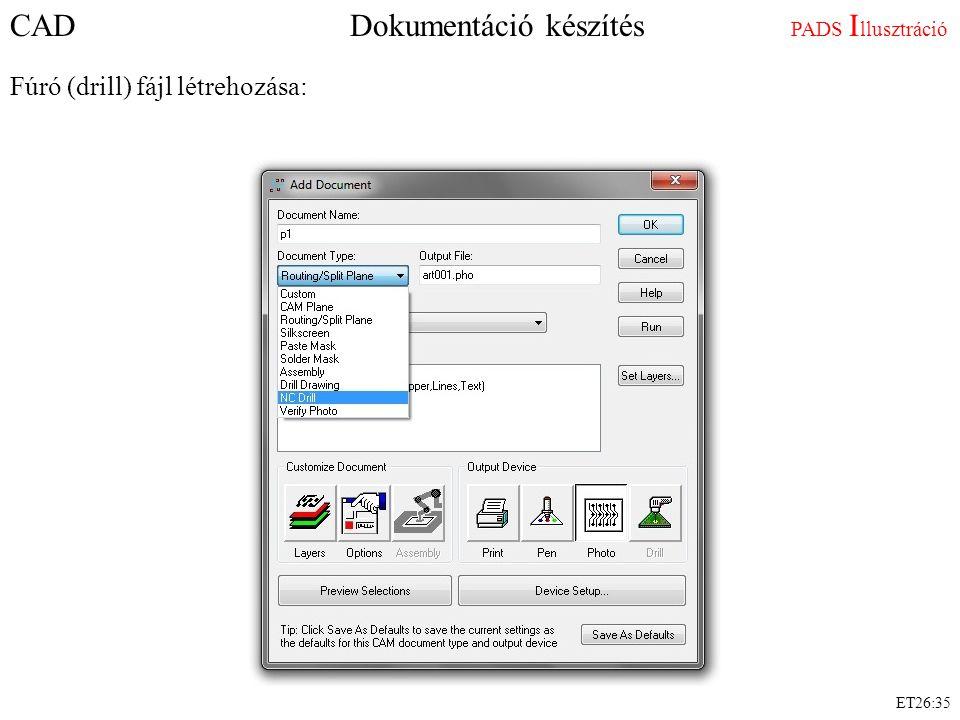 CAD Dokumentáció készítés PADS I llusztráció Fúró (drill) fájl létrehozása: ET26:35