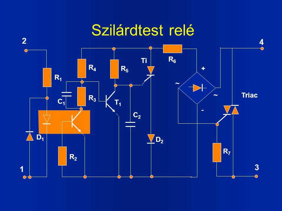 Szilárdtest relé R3R3 C1C1 R1R1 R7R7 R4R4 R2R2 R5R5 R6R6 D1D1 C2C2 D2D2 Ti Triac + - ~ ~ T1T1 1 2 3 4
