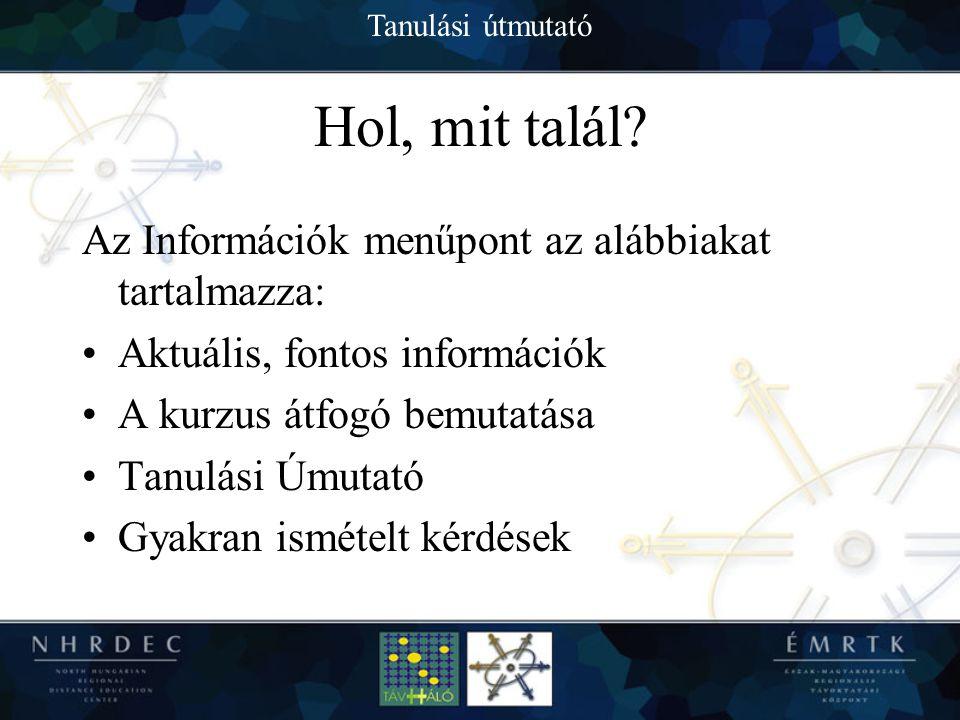 Tanulási útmutató Információk Az információk képe