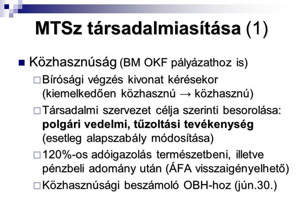 MTSz társadalmiasítása (1) Közhasznúság (BM OKF pályázathoz is) Közhasznúság (BM OKF pályázathoz is)  Bírósági végzés kivonat kérésekor (kiemelkedően közhasznú → közhasznú)  Társadalmi szervezet célja szerinti besorolása: polgári vedelmi, tűzoltási tevékenység (esetleg alapszabály módosítása)  120%-os adóigazolás természetbeni, illetve pénzbeli adomány után (ÁFA visszaigényelhető)  Közhasznúsági beszámoló OBH-hoz (jún.30.)