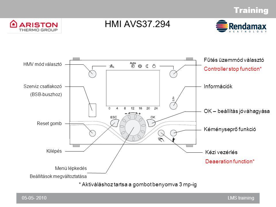 Training 05-05- 2010LMS training HMI AVS37.294 Fűtés üzemmód választó Controller stop function* Információk OK – beállítás jóváhagyása Kéményseprő funkció HMV mód választó Szerviz csatlakozó (BSB-buszhoz) Reset gomb Kilépés Menü lépkedés Beállítások megváltoztatása Kézi vezérlés Deaeration function* * Aktiváláshoz tartsa a gombot benyomva 3 mp-ig
