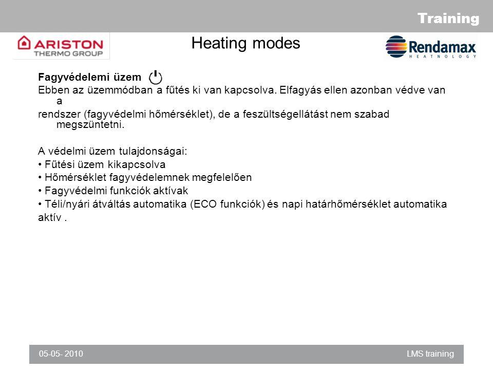 Training 05-05- 2010LMS training Heating modes Fagyvédelemi üzem Ebben az üzemmódban a fűtés ki van kapcsolva.