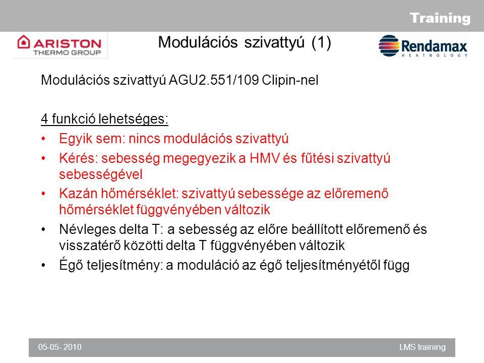 Training 05-05- 2010LMS training Modulációs szivattyú (1) Modulációs szivattyú AGU2.551/109 Clipin-nel 4 funkció lehetséges: Egyik sem: nincs modulációs szivattyú Kérés: sebesség megegyezik a HMV és fűtési szivattyú sebességével Kazán hőmérséklet: szivattyú sebessége az előremenő hőmérséklet függvényében változik Névleges delta T: a sebesség az előre beállított előremenő és visszatérő közötti delta T függvényében változik Égő teljesítmény: a moduláció az égő teljesítményétől függ