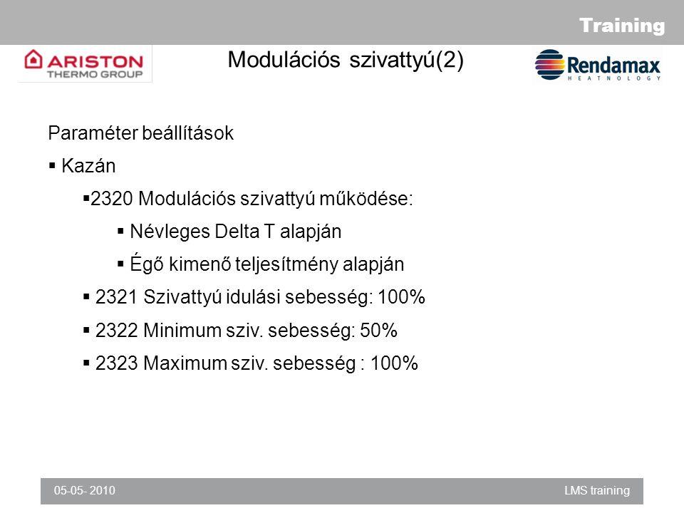 Training 05-05- 2010LMS training Modulációs szivattyú(2) Paraméter beállítások  Kazán  2320 Modulációs szivattyú működése:  Névleges Delta T alapján  Égő kimenő teljesítmény alapján  2321 Szivattyú idulási sebesség: 100%  2322 Minimum sziv.