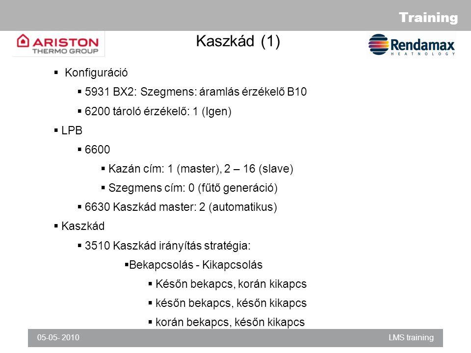 Training 05-05- 2010LMS training Kaszkád (1)  Konfiguráció  5931 BX2: Szegmens: áramlás érzékelő B10  6200 tároló érzékelő: 1 (Igen)  LPB  6600  Kazán cím: 1 (master), 2 – 16 (slave)  Szegmens cím: 0 (fűtő generáció)  6630 Kaszkád master: 2 (automatikus)  Kaszkád  3510 Kaszkád irányítás stratégia:  Bekapcsolás - Kikapcsolás  Későn bekapcs, korán kikapcs  későn bekapcs, későn kikapcs  korán bekapcs, későn kikapcs