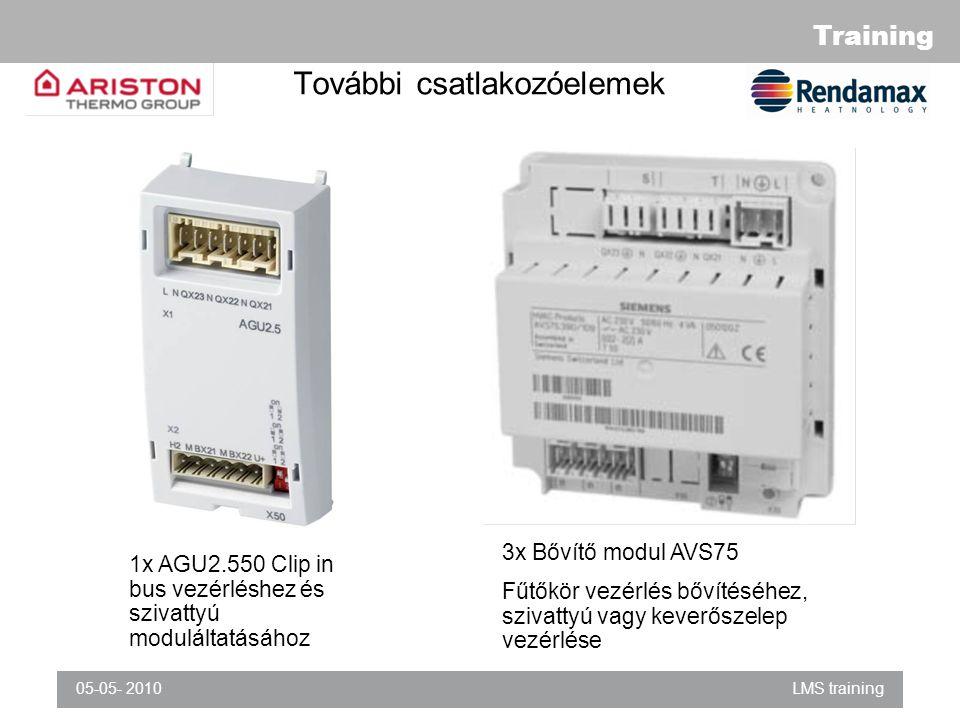 Training 05-05- 2010LMS training További csatlakozóelemek 1x AGU2.550 Clip in bus vezérléshez és szivattyú moduláltatásához 3x Bővítő modul AVS75 Fűtőkör vezérlés bővítéséhez, szivattyú vagy keverőszelep vezérlése