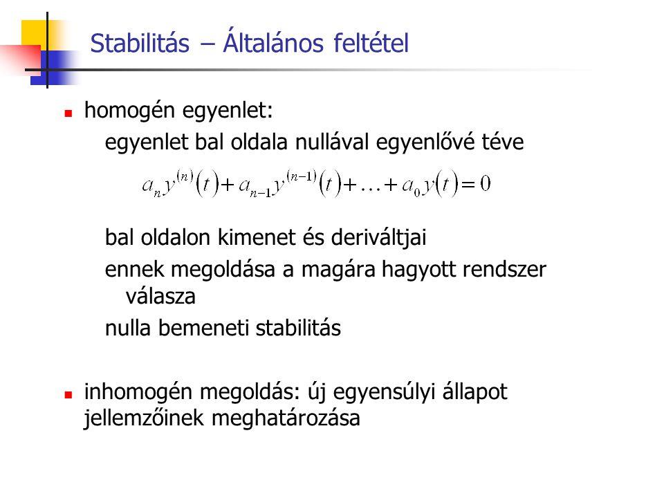 Stabilitás – Általános feltétel homogén egyenlet: egyenlet bal oldala nullával egyenlővé téve bal oldalon kimenet és deriváltjai ennek megoldása a mag