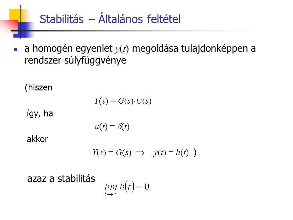 Stabilitás – Általános feltétel a homogén egyenlet y(t) megoldása tulajdonképpen a rendszer súlyfüggvénye (hiszen Y(s) = G(s)  U(s) így, ha u(t) = 