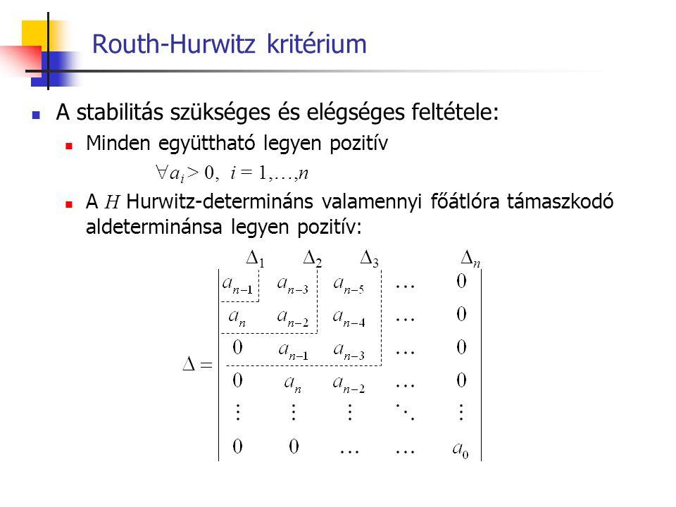 Routh-Hurwitz kritérium A stabilitás szükséges és elégséges feltétele: Minden együttható legyen pozitív  a i > 0, i = 1,…,n A H Hurwitz-determináns v