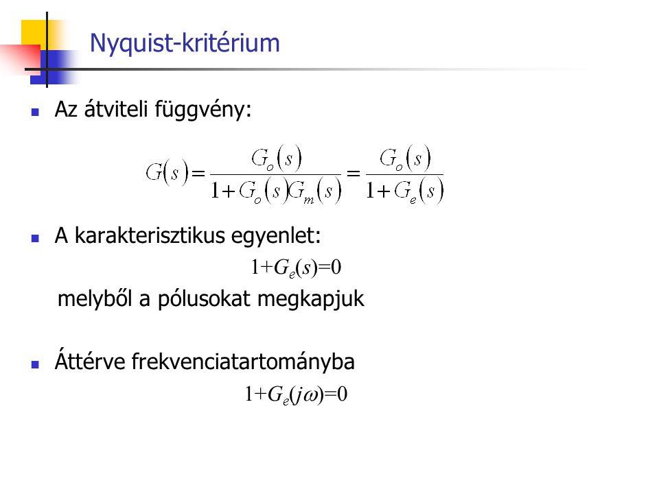 Nyquist-kritérium Az átviteli függvény: A karakterisztikus egyenlet: 1+G e (s)=0 melyből a pólusokat megkapjuk Áttérve frekvenciatartományba 1+G e (j