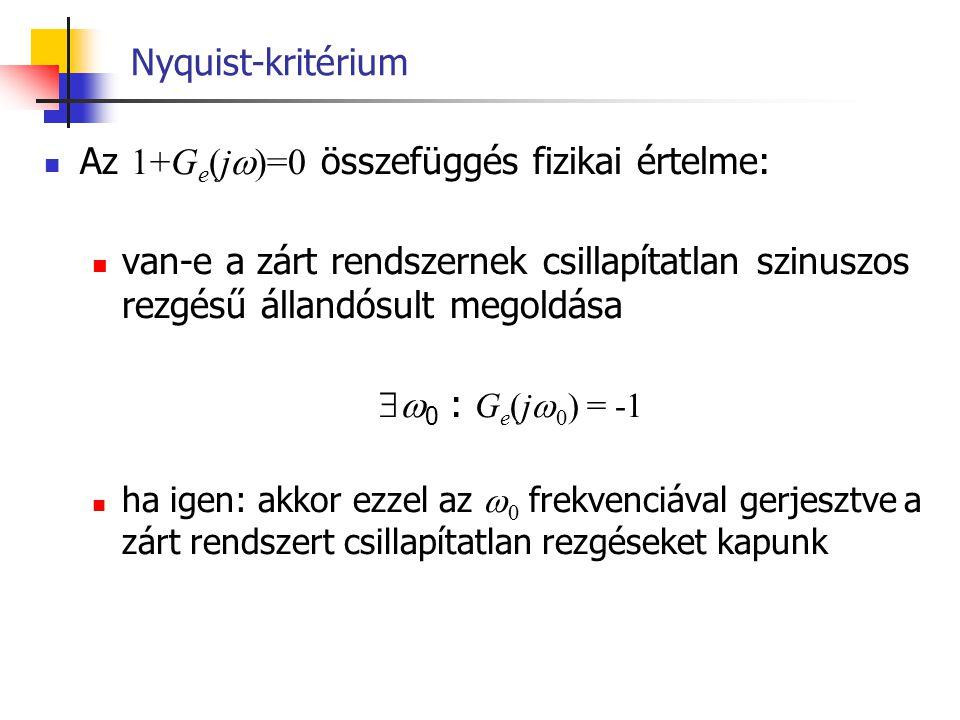 Nyquist-kritérium Az 1+G e (j  )=0 összefüggés fizikai értelme: van-e a zárt rendszernek csillapítatlan szinuszos rezgésű állandósult megoldása  0